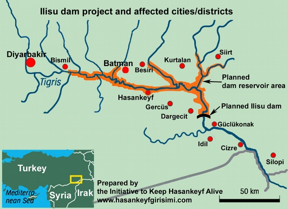 Map of the area affected by the Ilisu Project